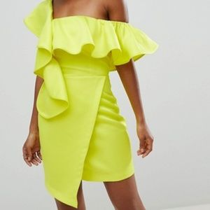 new ASOS ASYMETRICAL ruffle mini dress us 12